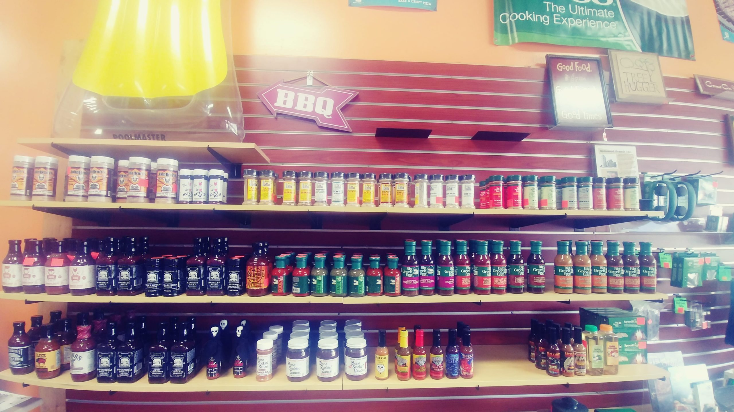 Barbecue sauces and spices in store display