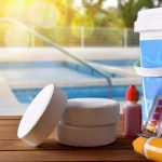 pool chlorine tablets with water test solution